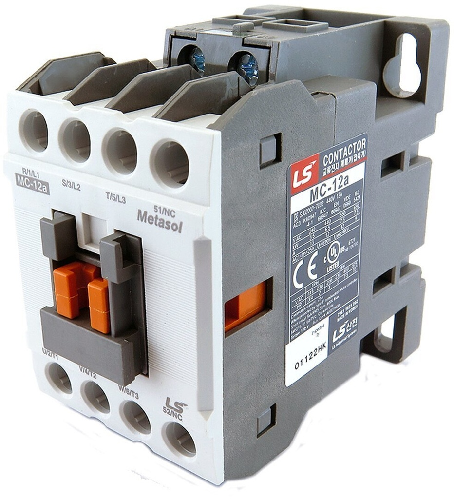 LS ELECTRIC (MC) - 5.5kW, 12A @ 400V AC, 24V DC Coil, 3 pole, Magnetic Contactor