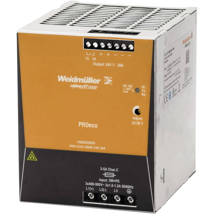Weidmuller (PRO-ECO) - 480W, 24V DC Out PSU